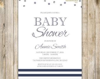 NAVY NAUTICAL Baby Shower Invitation, Navy Blue White Silver, Nautical Stripes Dots Digital Invite, Sailor Baby Boy Girl Shower Printables