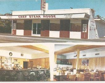 Chef Steak House, Hollywood, Florida, Vintage Postcard, Restaurant Souvenir, Family Style Restaurant, Famous Filet Mignon Dinners