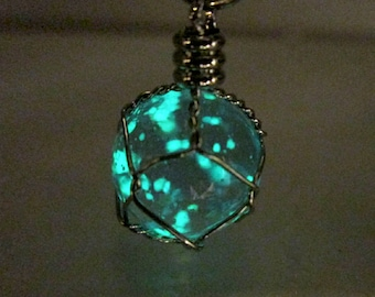 Luminous Wire Wrapped Crystal Orb Necklace Blue Glowing Crystal Ball Necklace Glow in the Dark Ball Pendant Luminous Gift Teen Jewelry Gift