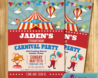 "Carnival party Invitation/Circus Birthday party Invitation/Circus Animals/Clown/Printable/Digital (5x7"") #K1077"