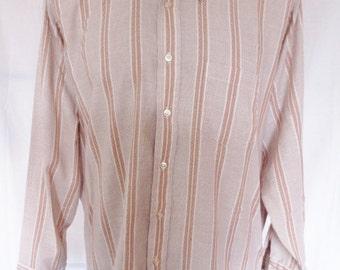 Vintage 1970's Men's Striped Button Up Shirt Mod Hipster zig zag stripes sz L or XL