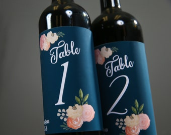 Wine Label Table Numbers for Wedding- Navy Blue Personalized Wedding Table Decor, Wedding Decor, Wedding Decorations, Table Numbers Wedding