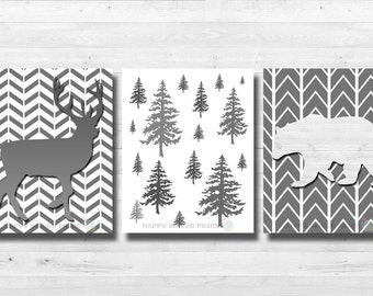 Woodland animals Nursery wall prints |Baby shower gift White-gray bear,deer bedding Rustic Woodland decor Woodland Creatures canvas art 169