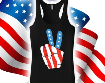 Fourth of July Peace Sign Tank - 4th of july tank tops for women, men, fourth of july, USA, american flag, 4th of july tank top -CT-484