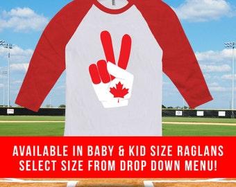 Canada Day Peace Sign Raglan baseball tshirt for men women and kids, canada day, canadian baseball tee, canada day clothes - CT-488