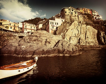Boat photography, sea photography, boat picture. Manarola, Italy, vintage photography, nautical photography, Fine Art Print