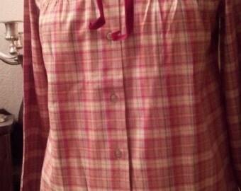 Checkered long sleeve cotton blouse