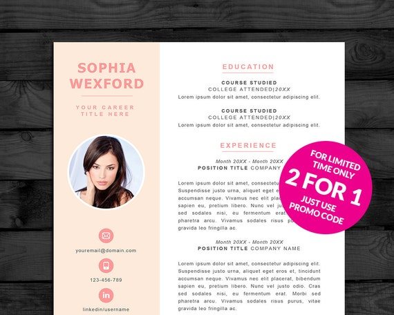resume template    cv template with photo buy by pandapawgraphics