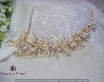 Bridal Hair Vine floral and pearl