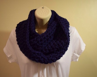 crocheted chunky infinity scarf circle scarf,  navy