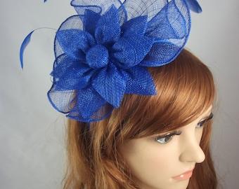Royal Cobalt Blue Sinamay Corsage & Ruffle Fascinator - Occasion Wedding Races