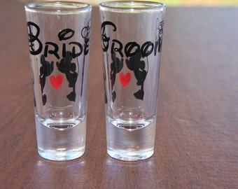 Disney Bride & Groom Shot Glasses OR One Lucky Mr./Soon To Be Mrs.