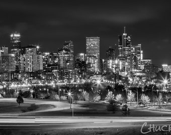 Photo Art - Black & White Photography - Denver Skyline - Canvas Print
