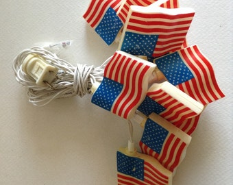 Vintage American Flag String Lights fourth Of July Party Decorations Patriotic Decorations Man Cave String Lights American Flag Decorations