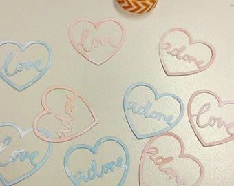 Heart with 'love' and 'adore'word die cut. Embellishments for scrspbooking. 10 pcs