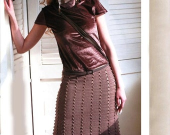 Skirt knitted crochet chocolate brown