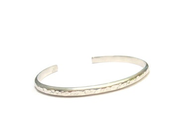 Open ring bracelet silver hammered