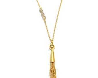 Gold Vermeil and smoky Quartz necklace