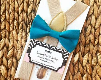 Teal Baby Boy Bow Tie- Teal Toddler Bow Tie- Teal Bow Tie & Tan Suspender Set- 6 Months to 5 Years Old
