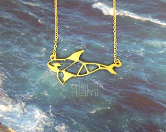Orca whale, Origami necklace, whale Jewelry, Statement Necklace, Animal Necklace, Everyday Necklace, Gold plated necklace, Gift under 30