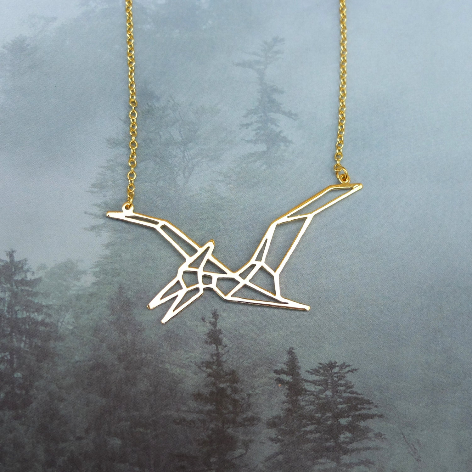Pterodactyl Dinosaur Necklace Origami Necklace Statement - photo#24