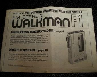 Sony Walkman WM-F1 original 1982 Manual