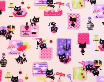 fat quarter, 1/2 meter / Japanese fabric / kawaii fabric / cat fabric / black cat fabric / animal fabric /