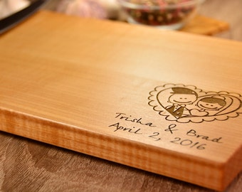 Couple cutting board, engraved heart, couple gift, gift for couple, anniversary gift, housewarming gift, heart cutting board