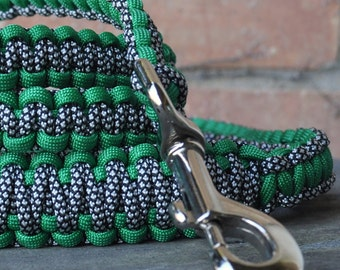 Green and Black & White Paracord 6ft Dog Leash