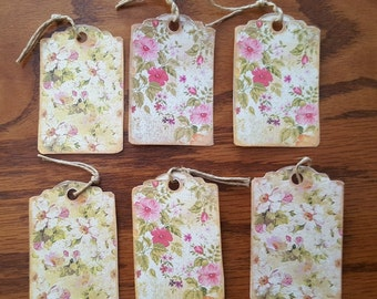Set of 6 Smaller Floral Shabby Gift Tags