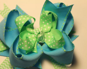 Turquoise & Lime Green Hair Bow