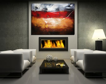 MODERN Art Red Abstract Painting Extra Large Artwork Red Wall Art Original Painting Large Art Home/Living Room/Office Painting Christovart