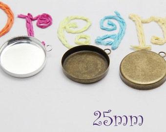 25mm Round Antique Bronze-Silver bezel cups - Deep bezel cups - Silver Brass Trays - Pendant Settings B026
