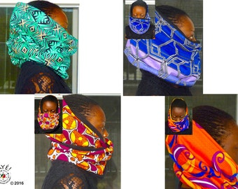 Reversible infinity scarves / snoods in ankara and cozy fleece