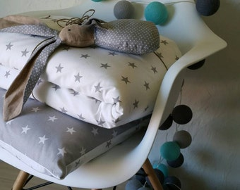 Grey Baby bedding Set - Baby Duvet Cover - Star Toddler Duvet - Toddler Bedding - Neutral bedding set - Nursery Bedding - Baby Shower Gift