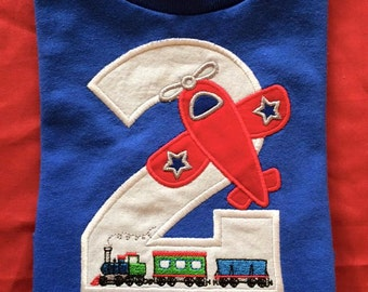 Train and Plane Personalized Birthday Onesie or shirt