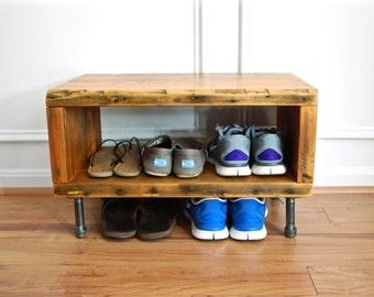 Industrial Shoe Rack and Bench, Reclaimed Wood Shoe Rack