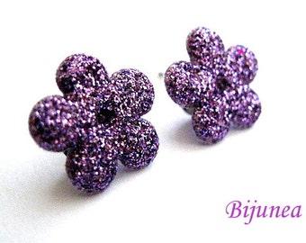 Flower earrings studs - Purple Flower posts - Flower studs - Spring Flower earrings - Flower jewelry - Earrings cherry sf256
