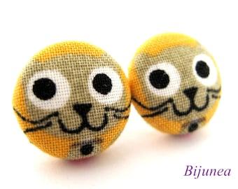 Cat earrings - Yellow cat stud earrings - Yellow cat studs - Cat posts -  Cat post earrings sf853