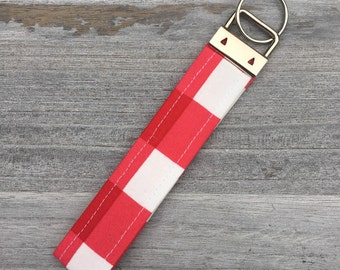 Red & White Checkered Key Fob/Key Chain