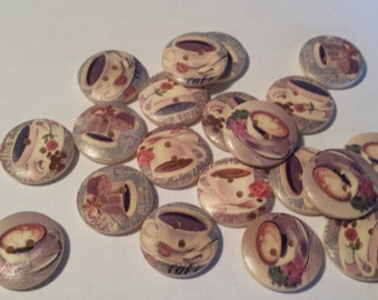 """20 Multi Colored Tea Cup / Coffee Cup Design  Wooden Buttons 3/4"""" for Sweaters or Crafts"""