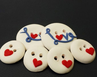 Valentines Day Buttons, 6 Love Buttons Set, Heart Buttons, Clay Buttons, White Buttons, Crotchet Supplies, Sewing Supplies, Scarf Buttons