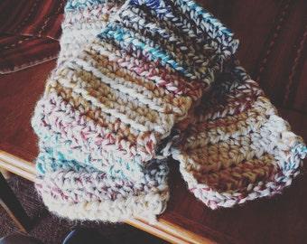 Rainbow chunky handmade crochet scarf
