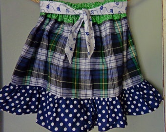 Mad for Plaid... navy blue/green with nautical sash