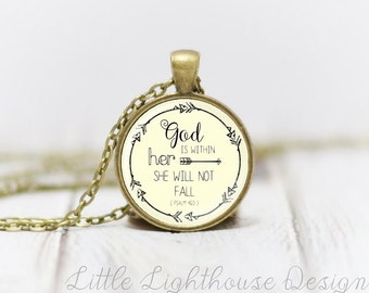 Medium God Is Within Her She Wil Not Fall Pendant Necklace Christian Necklace Christian Pendant Inspirational Psalm 46:5 Necklace
