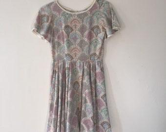 Pastel Paisley dreamy babydoll dress 60s 70s