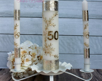 50th Anniversary Unity Candle Set, 50th Anniversary Unity Candle with or without the Candle Holder