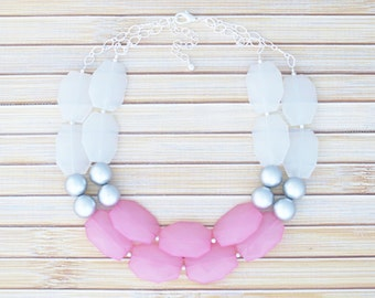 Pastel Pink Beaded Double Strand Necklace - Crystal Bib Statement Necklace - Multi Color Faceted Stone Color Block Necklace - Chunky Jewelry