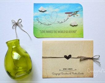30 Wedding Invitation Wedding Love Story-Participation-original handmade Card