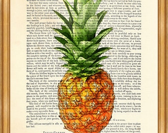 Pineapple Art Print Beautiful Pineapple Dictionary print, Pineapple wall decoration Printed on Vintage Dictionary Page